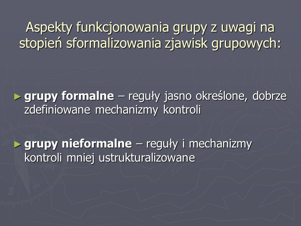 Aspekty funkcjonowania grupy z uwagi na stopień sformalizowania zjawisk grupowych: grupy formalne – reguły jasno określone, dobrze zdefiniowane mechan