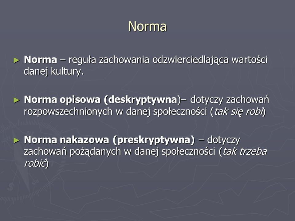 Norma Norma – reguła zachowania odzwierciedlająca wartości danej kultury. Norma – reguła zachowania odzwierciedlająca wartości danej kultury. Norma op