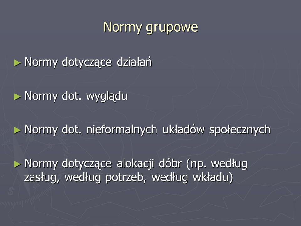 Normy grupowe Normy dotyczące działań Normy dotyczące działań Normy dot. wyglądu Normy dot. wyglądu Normy dot. nieformalnych układów społecznych Normy