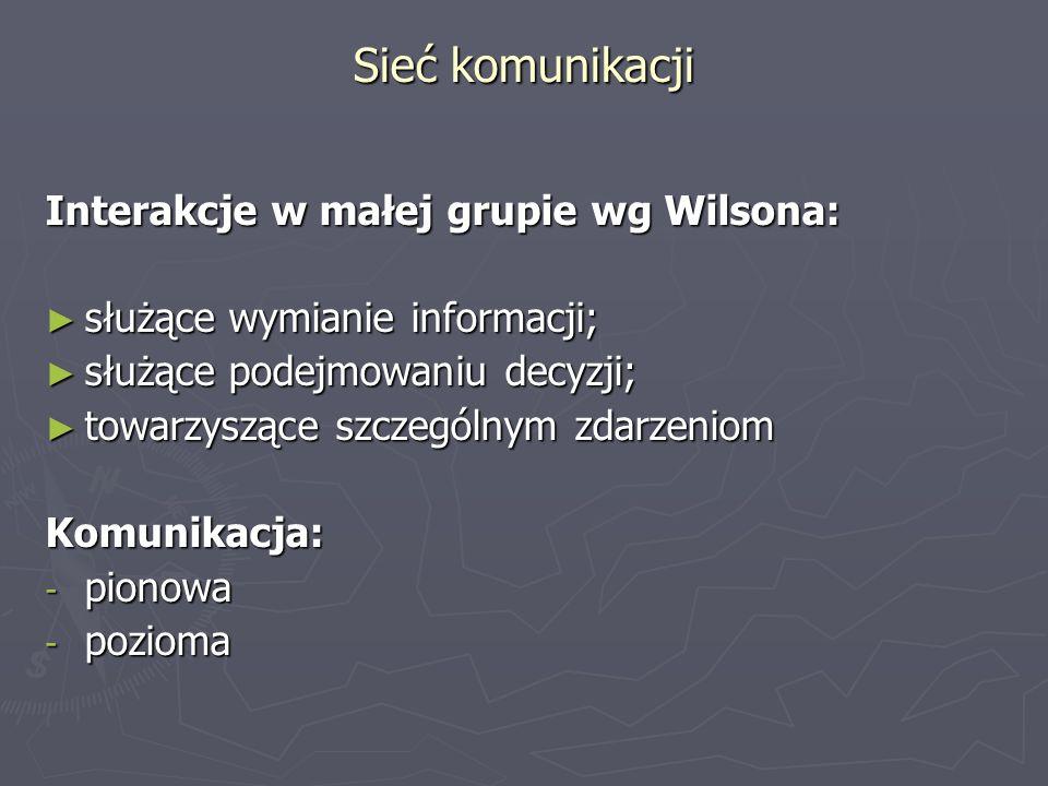 Sieć komunikacji Interakcje w małej grupie wg Wilsona: służące wymianie informacji; służące wymianie informacji; służące podejmowaniu decyzji; służące