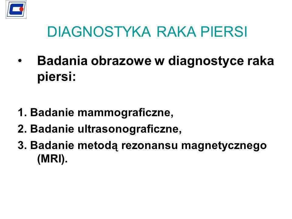 Badania obrazowe w diagnostyce raka piersi: 1. Badanie mammograficzne, 2. Badanie ultrasonograficzne, 3. Badanie metodą rezonansu magnetycznego (MRI).