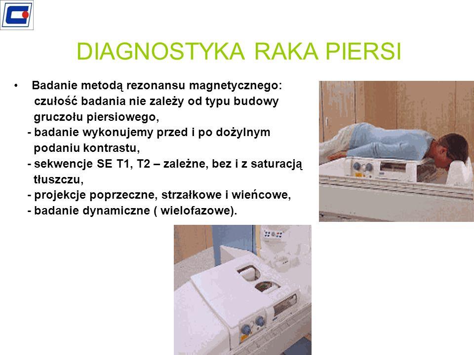 Badanie metodą rezonansu magnetycznego: - czułość badania nie zależy od typu budowy gruczołu piersiowego, - badanie wykonujemy przed i po dożylnym pod