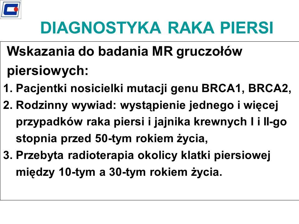 DIAGNOSTYKA RAKA PIERSI Wskazania do badania MR gruczołów piersiowych: 1. Pacjentki nosicielki mutacji genu BRCA1, BRCA2, 2. Rodzinny wywiad: wystąpie