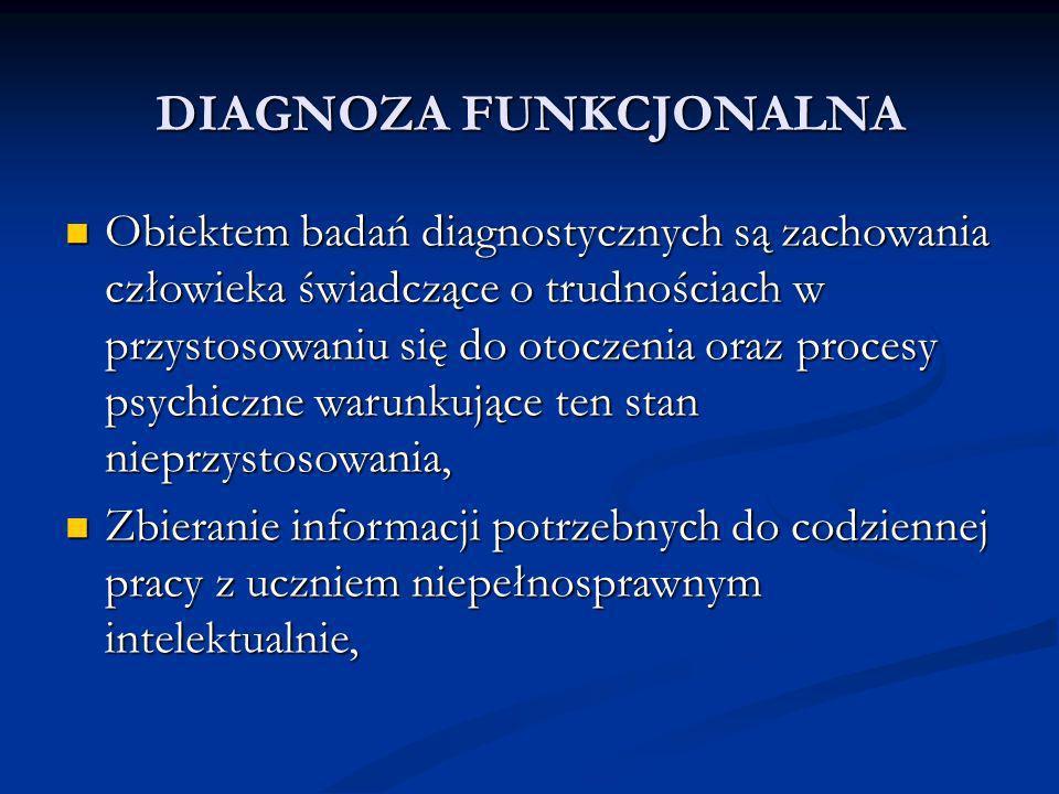 Obiektem badań diagnostycznych są zachowania człowieka świadczące o trudnościach w przystosowaniu się do otoczenia oraz procesy psychiczne warunkujące ten stan nieprzystosowania, Obiektem badań diagnostycznych są zachowania człowieka świadczące o trudnościach w przystosowaniu się do otoczenia oraz procesy psychiczne warunkujące ten stan nieprzystosowania, Zbieranie informacji potrzebnych do codziennej pracy z uczniem niepełnosprawnym intelektualnie, Zbieranie informacji potrzebnych do codziennej pracy z uczniem niepełnosprawnym intelektualnie,