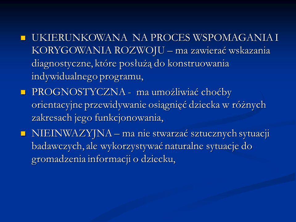 UKIERUNKOWANA NA PROCES WSPOMAGANIA I KORYGOWANIA ROZWOJU – ma zawierać wskazania diagnostyczne, które posłużą do konstruowania indywidualnego programu, UKIERUNKOWANA NA PROCES WSPOMAGANIA I KORYGOWANIA ROZWOJU – ma zawierać wskazania diagnostyczne, które posłużą do konstruowania indywidualnego programu, PROGNOSTYCZNA - ma umożliwiać choćby orientacyjne przewidywanie osiągnięć dziecka w różnych zakresach jego funkcjonowania, PROGNOSTYCZNA - ma umożliwiać choćby orientacyjne przewidywanie osiągnięć dziecka w różnych zakresach jego funkcjonowania, NIEINWAZYJNA – ma nie stwarzać sztucznych sytuacji badawczych, ale wykorzystywać naturalne sytuacje do gromadzenia informacji o dziecku, NIEINWAZYJNA – ma nie stwarzać sztucznych sytuacji badawczych, ale wykorzystywać naturalne sytuacje do gromadzenia informacji o dziecku,