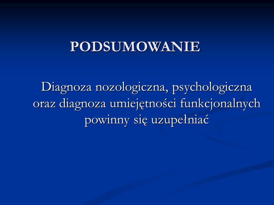PODSUMOWANIE Diagnoza nozologiczna, psychologiczna oraz diagnoza umiejętności funkcjonalnych powinny się uzupełniać