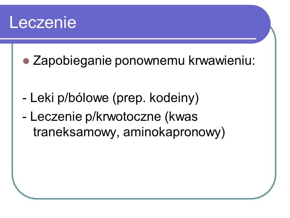 Leczenie Zapobieganie ponownemu krwawieniu: - Leki p/bólowe (prep. kodeiny) - Leczenie p/krwotoczne (kwas traneksamowy, aminokapronowy)