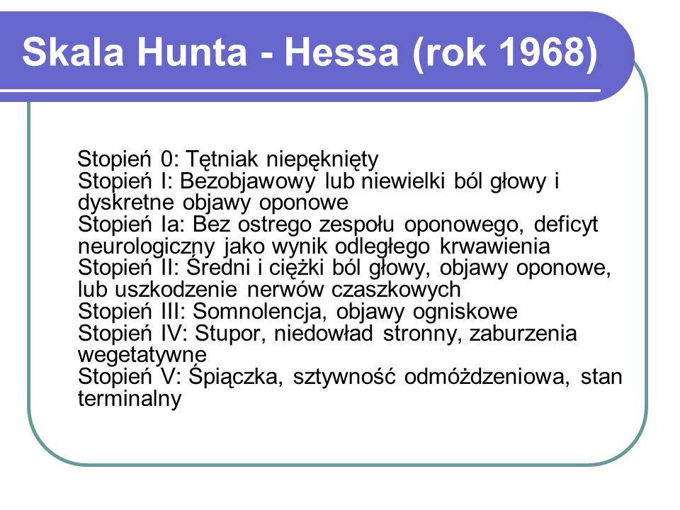 Skala Hunta - Hessa (rok 1968) Stopień 0: Tętniak niepęknięty Stopień I: Bezobjawowy lub niewielki ból głowy i dyskretne objawy oponowe Stopień Ia: Be
