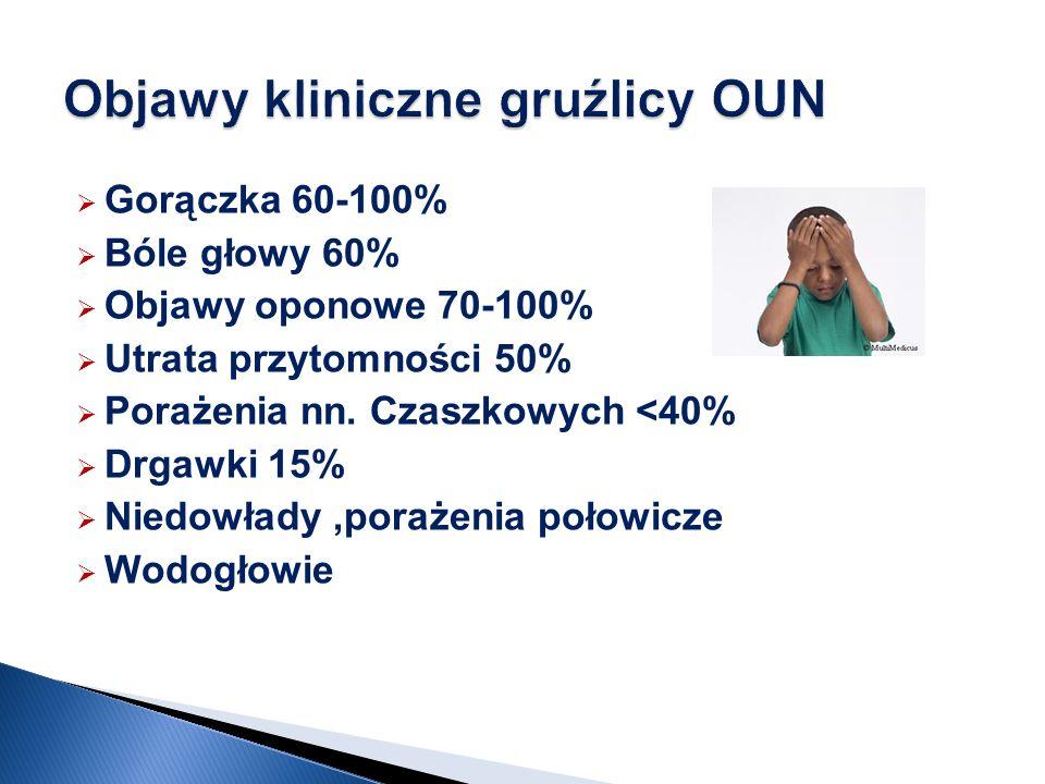 Gorączka 60-100% Bóle głowy 60% Objawy oponowe 70-100% Utrata przytomności 50% Porażenia nn. Czaszkowych <40% Drgawki 15% Niedowłady,porażenia połowic