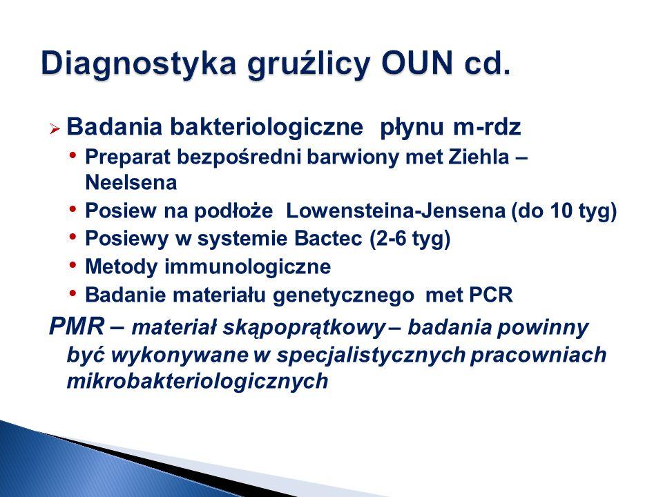 Badania bakteriologiczne płynu m-rdz Preparat bezpośredni barwiony met Ziehla – Neelsena Posiew na podłoże Lowensteina-Jensena (do 10 tyg) Posiewy w s