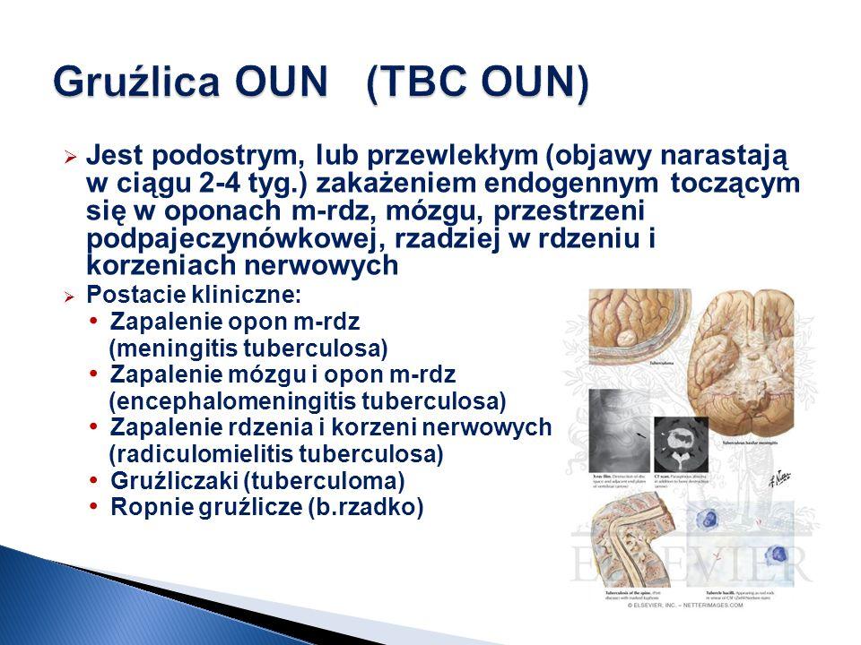 Jest podostrym, lub przewlekłym (objawy narastają w ciągu 2-4 tyg.) zakażeniem endogennym toczącym się w oponach m-rdz, mózgu, przestrzeni podpajeczyn