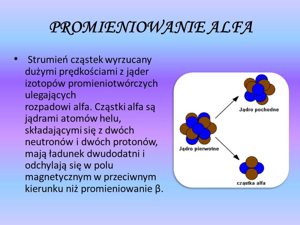 PROMIENIOWANIE ALFA Strumień cząstek wyrzucany dużymi prędkościami z jąder izotopów promieniotwórczych ulegających rozpadowi alfa. Cząstki alfa są jąd
