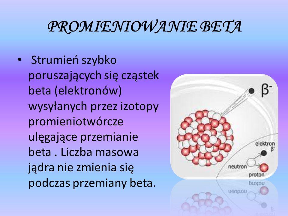 PROMIENIOWANIE BETA Strumień szybko poruszających się cząstek beta (elektronów) wysyłanych przez izotopy promieniotwórcze ulęgające przemianie beta. L
