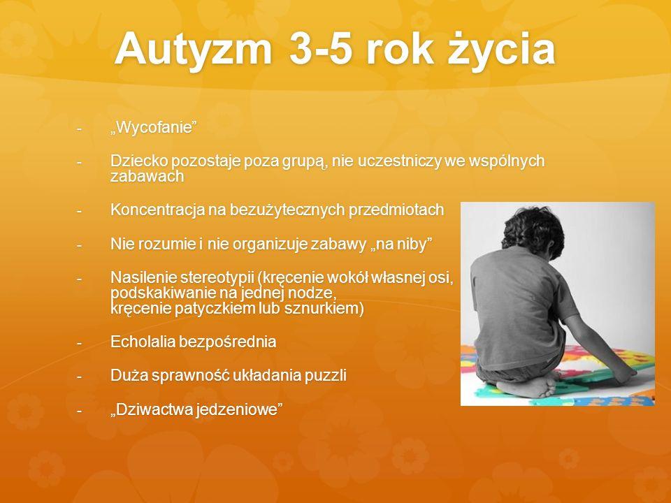 Autyzm 3-5 rok życia - Wycofanie - Dziecko pozostaje poza grupą, nie uczestniczy we wspólnych zabawach - Koncentracja na bezużytecznych przedmiotach -