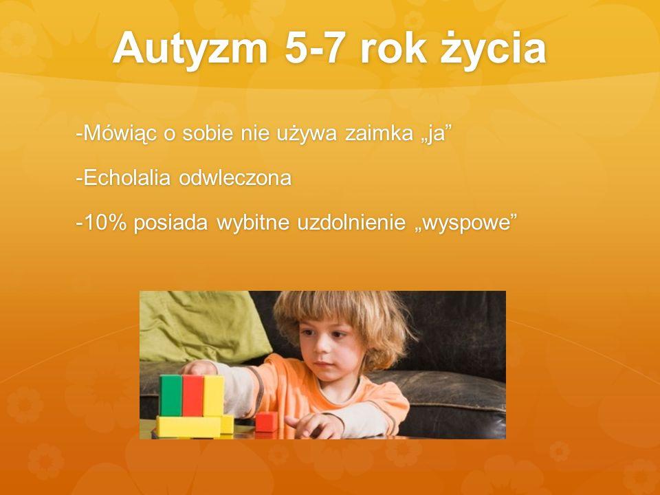 Autyzm 5-7 rok życia -Mówiąc o sobie nie używa zaimka ja -Echolalia odwleczona -10% posiada wybitne uzdolnienie wyspowe
