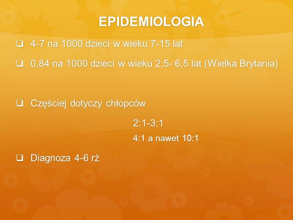 EPIDEMIOLOGIA 4-7 na 1000 dzieci w wieku 7-15 lat 4-7 na 1000 dzieci w wieku 7-15 lat 0,84 na 1000 dzieci w wieku 2,5- 6,5 lat (Wielka Brytania) 0,84