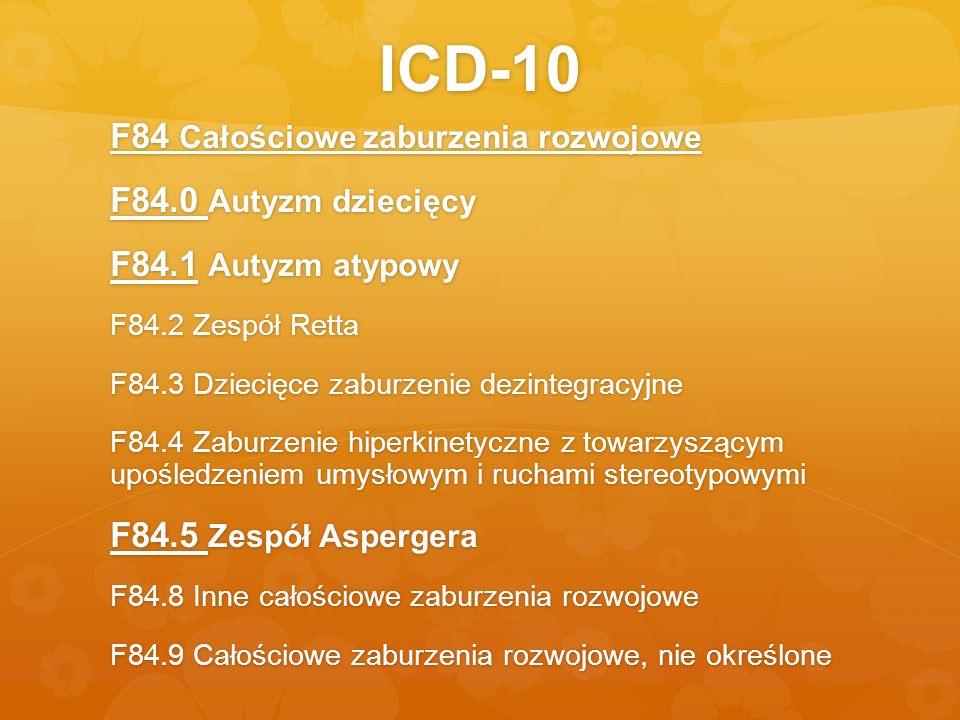 ICD-10 F84 Całościowe zaburzenia rozwojowe F84.0 Autyzm dziecięcy F84.1 Autyzm atypowy F84.2 Zespół Retta F84.3 Dziecięce zaburzenie dezintegracyjne F