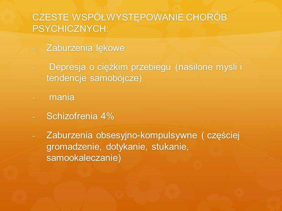 CZESTE WSPÓŁWYSTĘPOWANIE CHORÓB PSYCHICZNYCH: - Zaburzenia lękowe - Depresja o ciężkim przebiegu (nasilone mysli i tendencje samobójcze) - mania - Sch