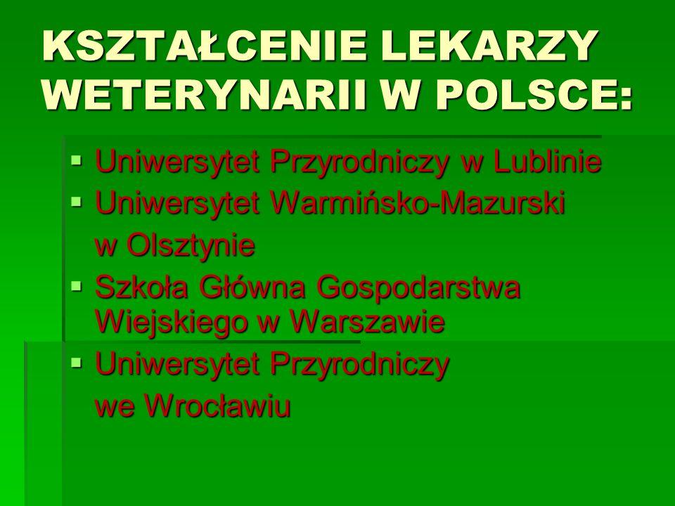 KSZTAŁCENIE LEKARZY WETERYNARII W POLSCE: Uniwersytet Przyrodniczy w Lublinie Uniwersytet Przyrodniczy w Lublinie Uniwersytet Warmińsko-Mazurski Uniwe