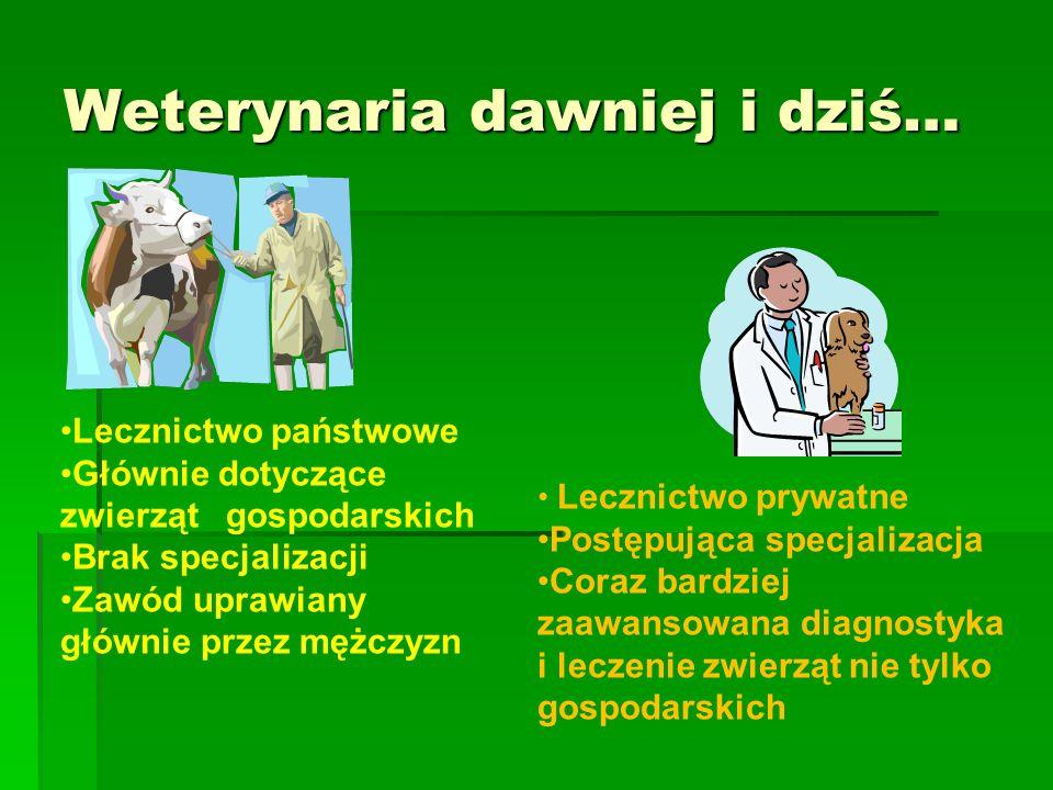 Weterynaria dawniej i dziś… Lecznictwo państwowe Głównie dotyczące zwierząt gospodarskich Brak specjalizacji Zawód uprawiany głównie przez mężczyzn Lecznictwo prywatne Postępująca specjalizacja Coraz bardziej zaawansowana diagnostyka i leczenie zwierząt nie tylko gospodarskich