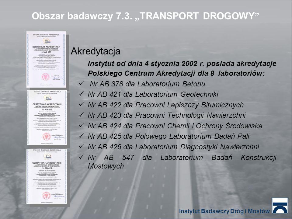 Akredytacja Instytut od dnia 4 stycznia 2002 r. posiada akredytacje Polskiego Centrum Akredytacji dla 8 laboratoriów: Nr AB 378 dla Laboratorium Beton