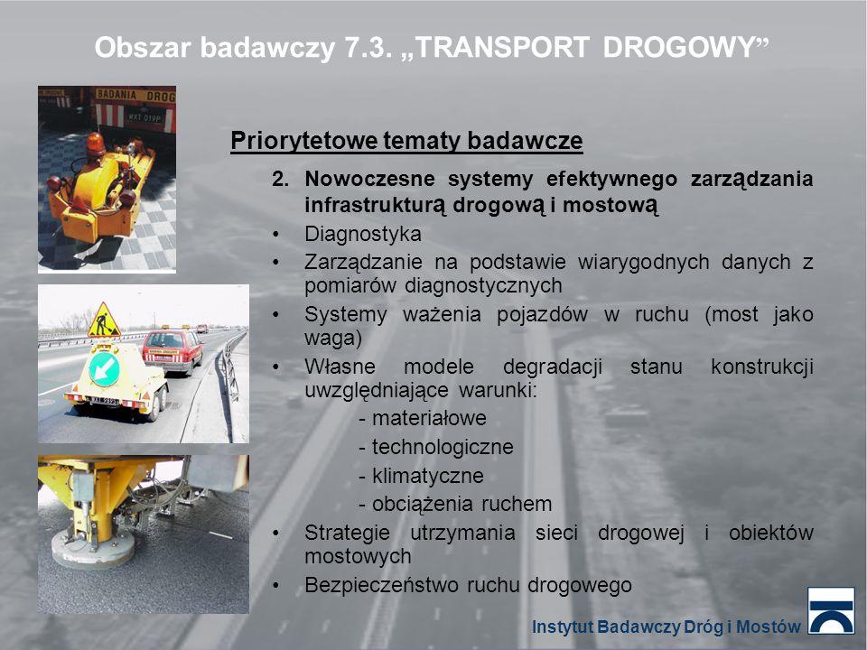 Obszar badawczy 7.3. TRANSPORT DROGOWY Priorytetowe tematy badawcze 2.Nowoczesne systemy efektywnego zarz ą dzania infrastruktur ą drogow ą i mostow ą