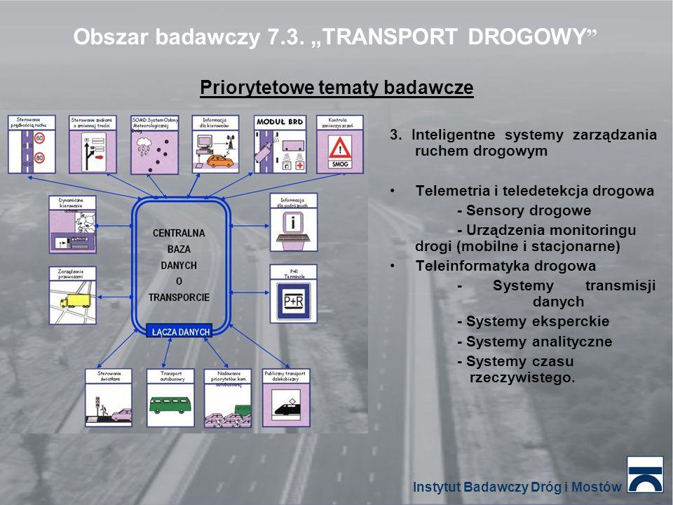 Priorytetowe tematy badawcze 3. Inteligentne systemy zarządzania ruchem drogowym Telemetria i teledetekcja drogowa - Sensory drogowe - Urządzenia moni