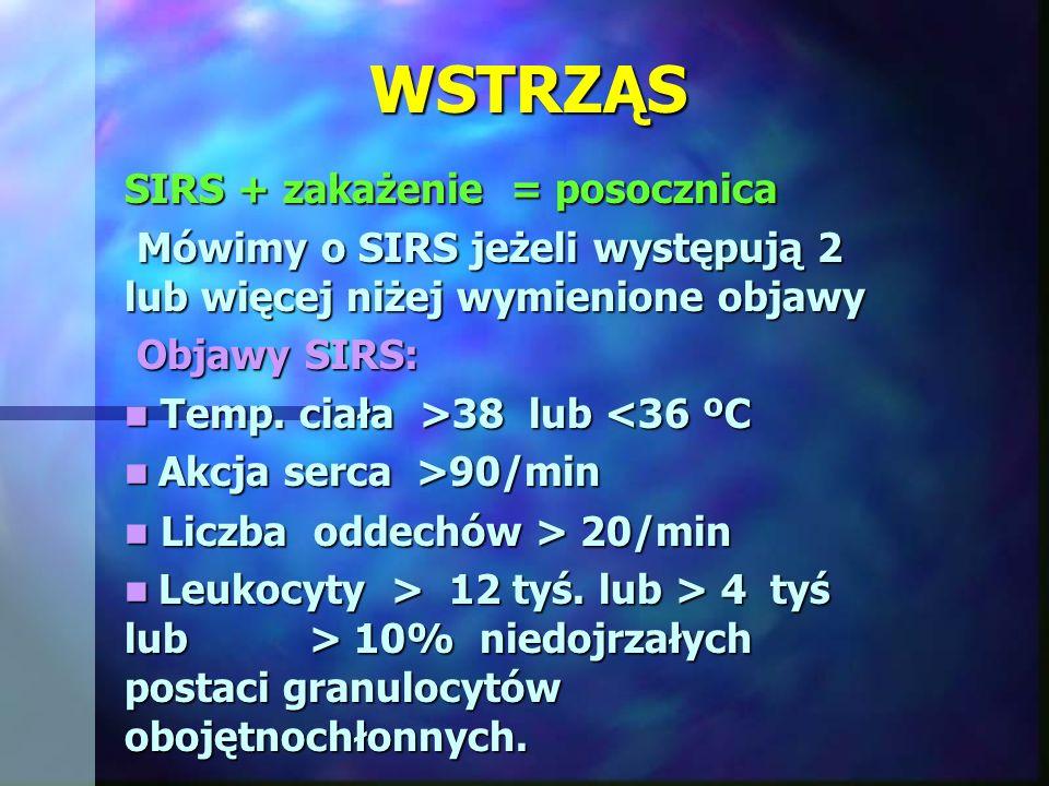WSTRZĄS SIRS + zakażenie = posocznica Mówimy o SIRS jeżeli występują 2 lub więcej niżej wymienione objawy Mówimy o SIRS jeżeli występują 2 lub więcej