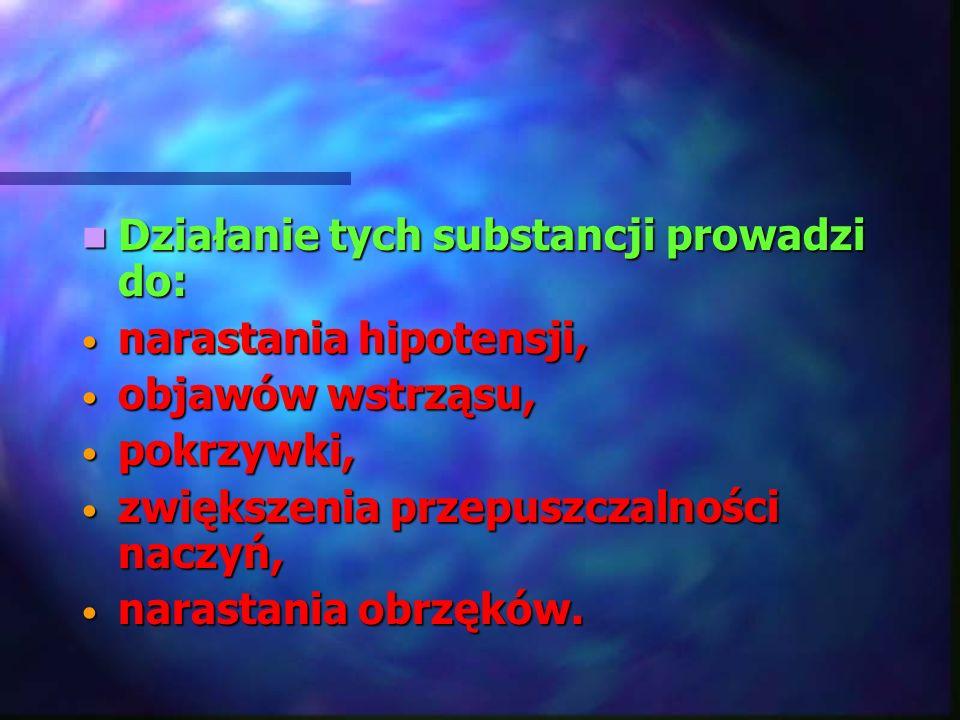 Działanie tych substancji prowadzi do: Działanie tych substancji prowadzi do: narastania hipotensji, narastania hipotensji, objawów wstrząsu, objawów