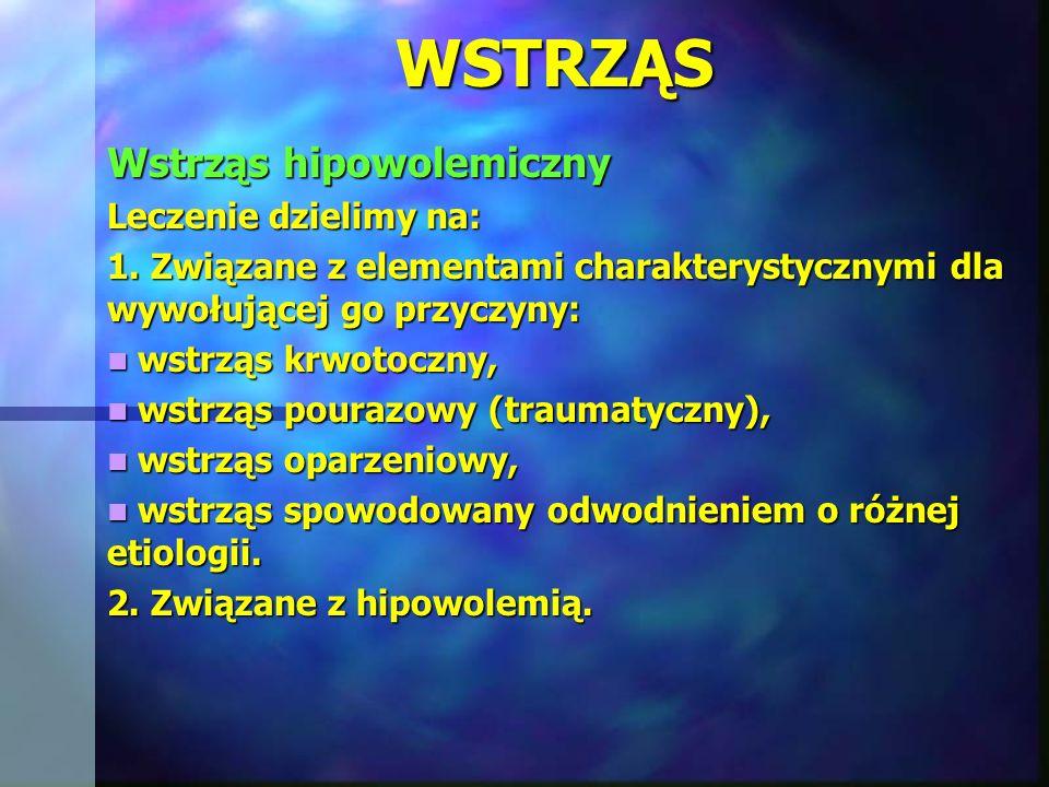 WSTRZĄS Wstrząs hipowolemiczny Leczenie dzielimy na: 1. Związane z elementami charakterystycznymi dla wywołującej go przyczyny: wstrząs krwotoczny, ws