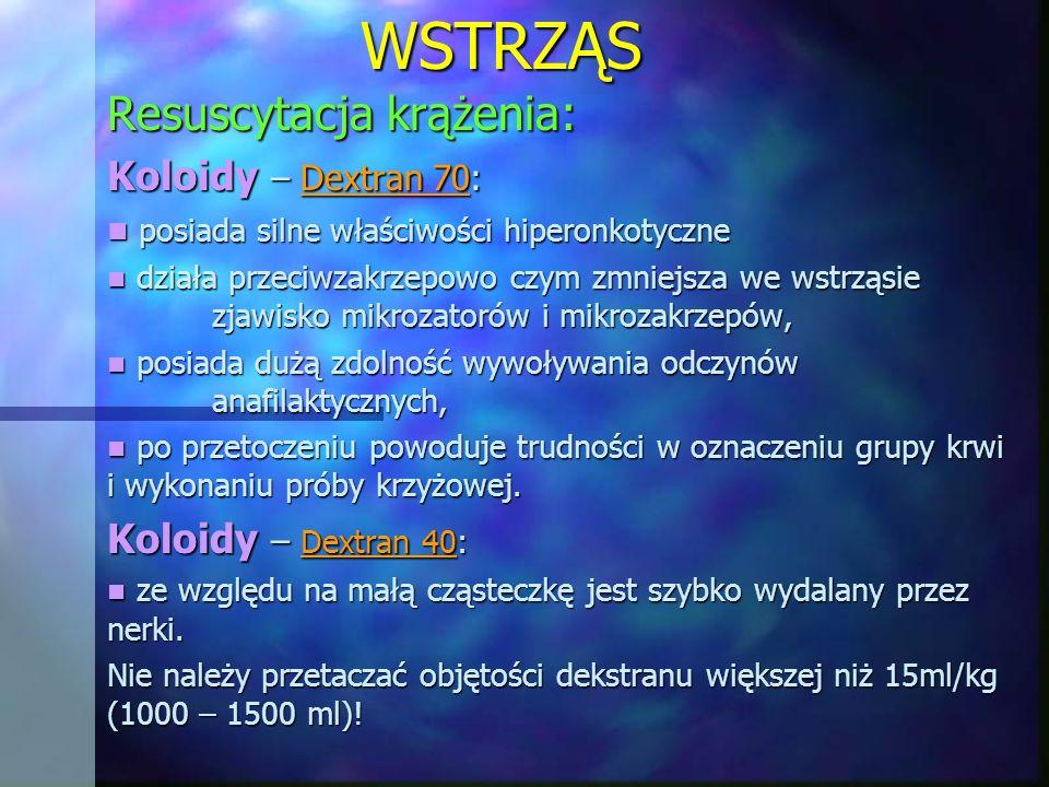 WSTRZĄS Resuscytacja krążenia: Koloidy – Dextran 70: posiada silne właściwości hiperonkotyczne posiada silne właściwości hiperonkotyczne działa przeci