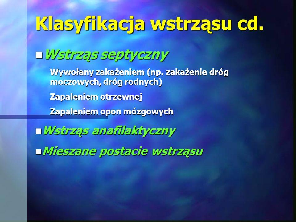 Klasyfikacja wstrząsu cd. Wstrząs septyczny Wstrząs septyczny Wywołany zakażeniem (np. zakażenie dróg moczowych, dróg rodnych) Zapaleniem otrzewnej Za