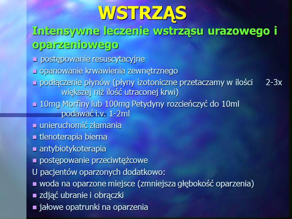 WSTRZĄS Intensywne leczenie wstrząsu urazowego i oparzeniowego postępowanie resuscytacyjne postępowanie resuscytacyjne opanowanie krwawienia zewnętrzn
