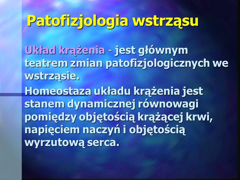 Patofizjologia wstrząsu Układ krążenia - jest głównym teatrem zmian patofizjologicznych we wstrząsie. Homeostaza układu krążenia jest stanem dynamiczn