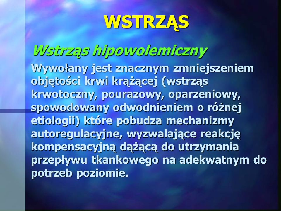 WSTRZĄS Resuscytacja krążenia: Środki inotropowe: Dopamina w ciągłej infuzji 5-10 μg/kg m.c./min, Dopamina w ciągłej infuzji 5-10 μg/kg m.c./min, Dobutamina w ciągłej infuzji 2,5 -5 μg/kg m.c./min, Dobutamina w ciągłej infuzji 2,5 -5 μg/kg m.c./min, łączne podanie dopaminy i dobutaminy łączne podanie dopaminy i dobutaminy w przypadkach nie reagujących na leczenie noradrenalina 0,5 - 1,5 μg /kg m.c/min.