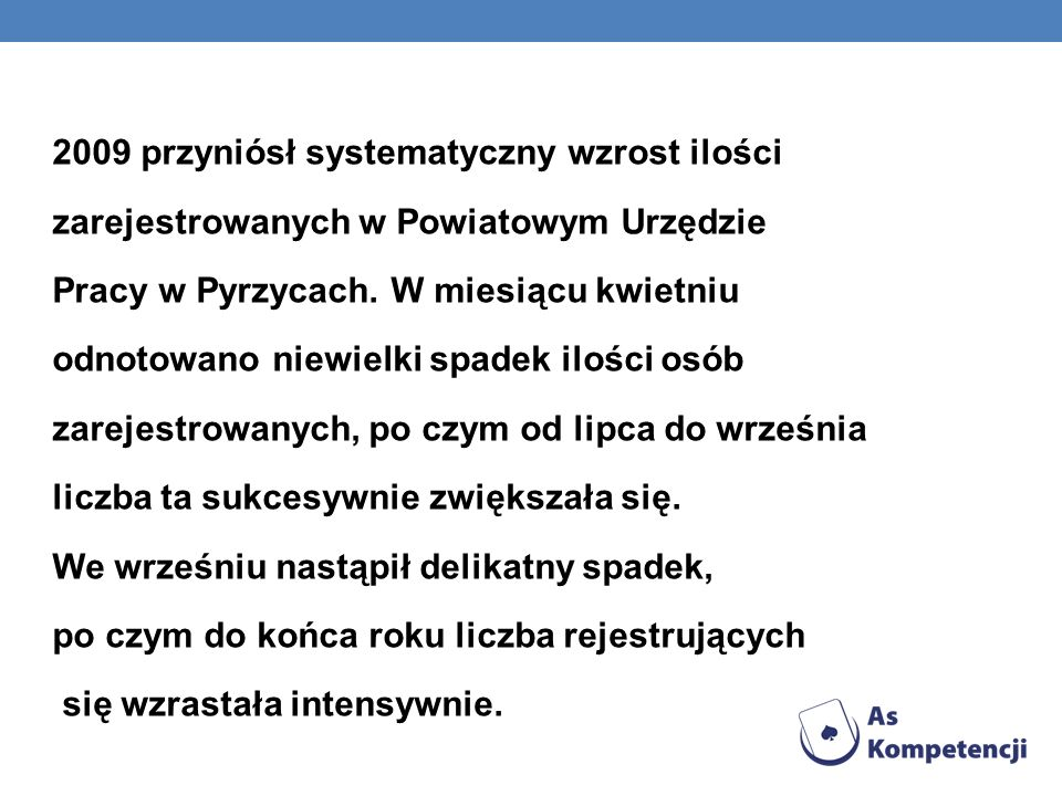 2009 przyniósł systematyczny wzrost ilości zarejestrowanych w Powiatowym Urzędzie Pracy w Pyrzycach.