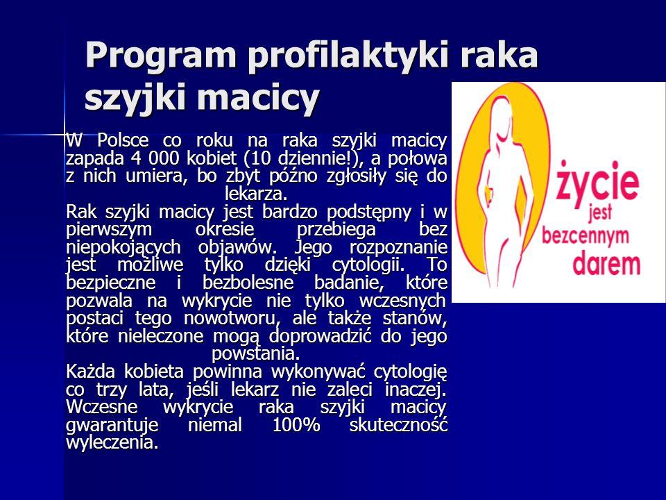 Program profilaktyki raka szyjki macicy W Polsce co roku na raka szyjki macicy zapada 4 000 kobiet (10 dziennie!), a połowa z nich umiera, bo zbyt póź