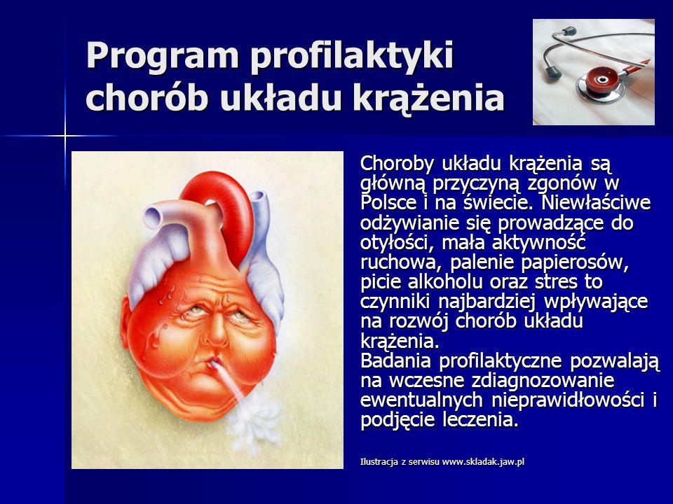 Program profilaktyki chorób układu krążenia Choroby układu krążenia są główną przyczyną zgonów w Polsce i na świecie. Niewłaściwe odżywianie się prowa