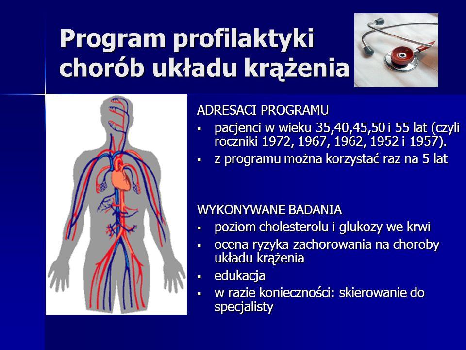 Program profilaktyki chorób układu krążenia ADRESACI PROGRAMU pacjenci w wieku 35,40,45,50 i 55 lat (czyli roczniki 1972, 1967, 1962, 1952 i 1957). pa