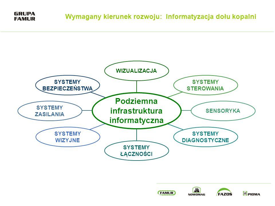 Wymagany kierunek rozwoju: Informatyzacja dołu kopalni WIZUALIZACJA SYSTEMY STEROWANIA SENSORYKA SYSTEMY DIAGNOSTYCZNE SYSTEMY ŁĄCZNOŚCI SYSTEMY WIZYJ
