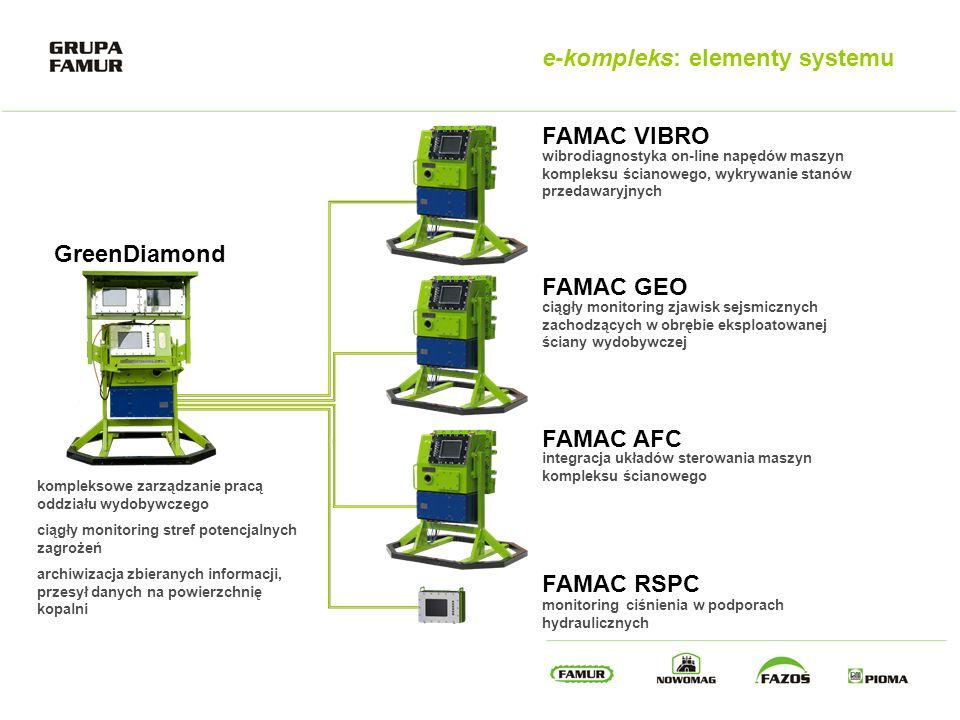 e-kompleks: elementy systemu GreenDiamond FAMAC VIBRO FAMAC GEO FAMAC AFC FAMAC RSPC ciągły monitoring zjawisk sejsmicznych zachodzących w obrębie eks
