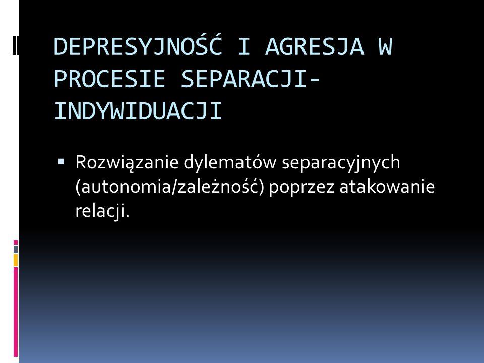DEPRESYJNOŚĆ I AGRESJA W PROCESIE SEPARACJI- INDYWIDUACJI Rozwiązanie dylematów separacyjnych (autonomia/zależność) poprzez atakowanie relacji.