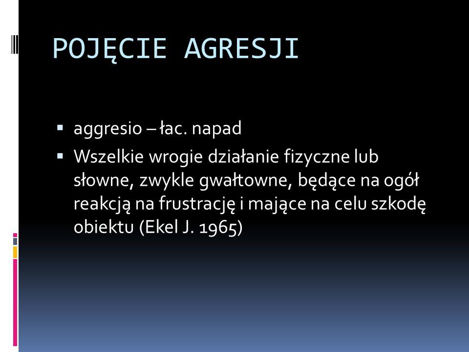 POJĘCIE AGRESJI aggresio – łac. napad Wszelkie wrogie działanie fizyczne lub słowne, zwykle gwałtowne, będące na ogół reakcją na frustrację i mające n