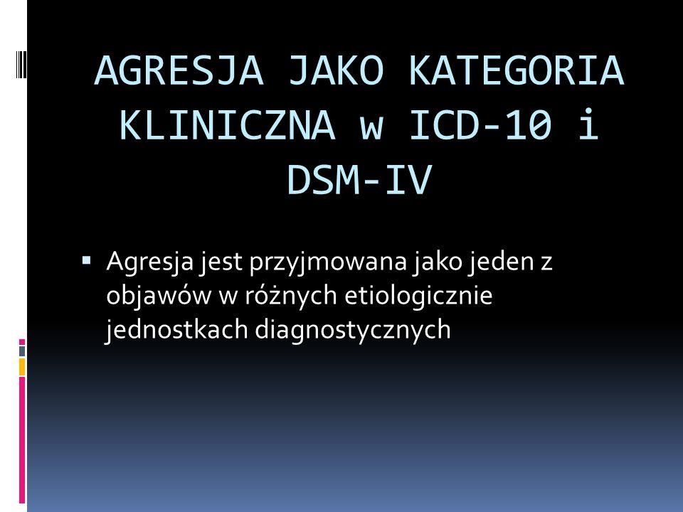 AGRESJA JAKO KATEGORIA KLINICZNA w ICD-10 i DSM-IV Agresja jest przyjmowana jako jeden z objawów w różnych etiologicznie jednostkach diagnostycznych