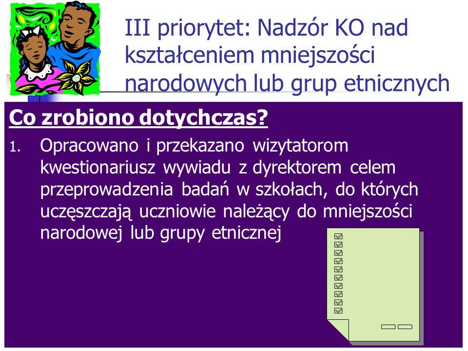 II priorytet: Wzmacnianie działalności wychowawczej Pozostało do zrobienia: 4.Opracowanie i upublicznienie sprawozdania z realizacji priorytetu w celu wykorzystania wniosków do planowania dalszej pracy - czerwiec/lipiec