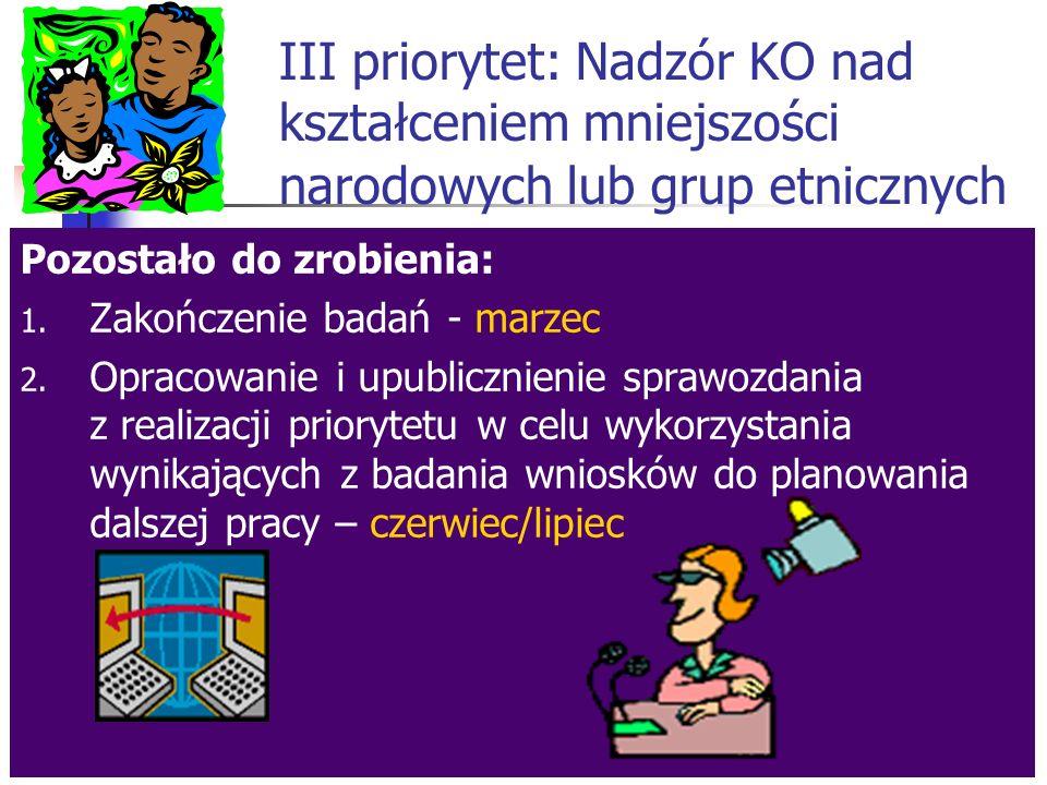 III priorytet: Nadzór KO nad kształceniem mniejszości narodowych lub grup etnicznych Co zrobiono dotychczas.