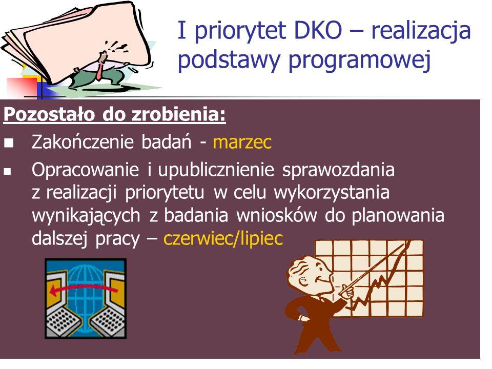 I priorytet DKO – realizacja podstawy programowej Co zrobiono dotychczas.