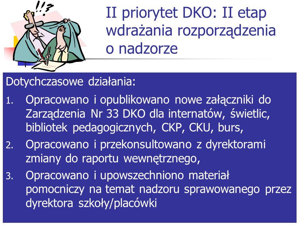 I priorytet DKO – realizacja podstawy programowej Pozostało do zrobienia: Zakończenie badań - marzec Opracowanie i upublicznienie sprawozdania z realizacji priorytetu w celu wykorzystania wynikających z badania wniosków do planowania dalszej pracy – czerwiec/lipiec