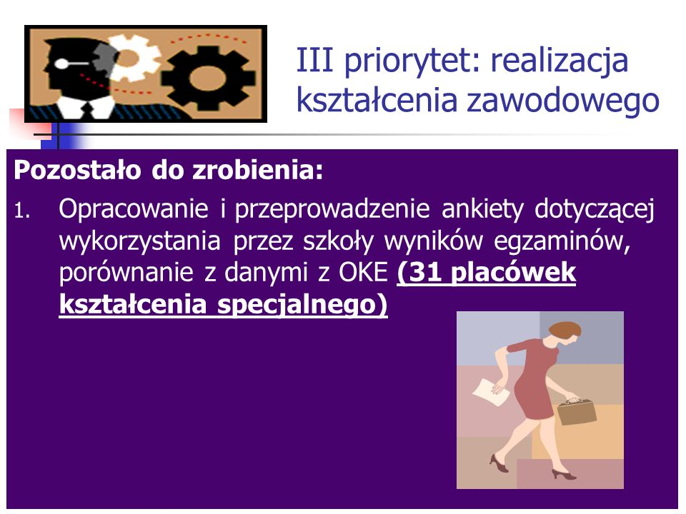 III priorytet: realizacja kształcenia zawodowego Co zrobiono dotychczas.
