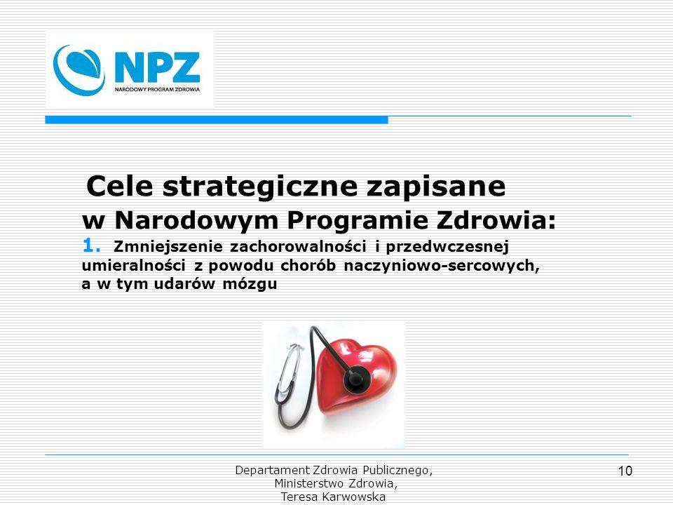 Departament Zdrowia Publicznego, Ministerstwo Zdrowia, Teresa Karwowska 10 Cele strategiczne zapisane w Narodowym Programie Zdrowia: 1. Zmniejszenie z